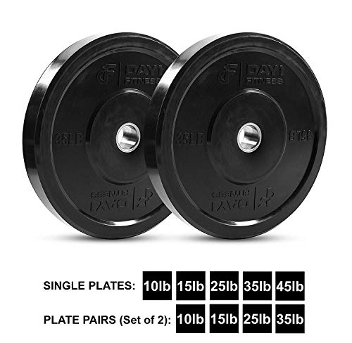 """Day 1 Fitness Olympic Bumper Weighted Plate 2"""" for Barbells, Bars – 35 lb Set of 2 Plates - Shock-Absorbing, Minimal Bounce Steel Weights with Bumpers for Lifting, Strength Training, and Working Out by Day 1 Fitness (Image #8)"""