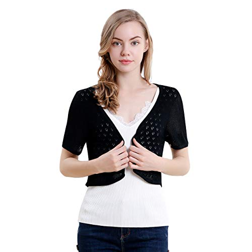 Vero Viva Women's Short Sleeve Bolero Shrugs Knit Lightweight Crocheted Cardigan(M,Black) -