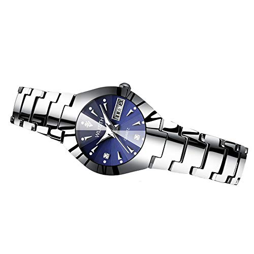 RUIXFWA Minimalist Quartz Movement Wristwatch Women Watch Luminous Pointer Tungsten Steel Strap Unique Fashion Design Ladies Clock Female Waterproof Adjustable, Silver, Gril Dial Tungsten Steel Bezel
