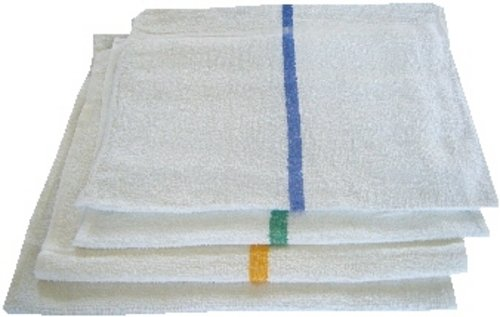 Atlas 48-Pack BLUE STRIPE Bar Mops 16x19 Full Terry Towels White 100% Cotton 28Oz Eco-Friendly - Bar Mop Towels 16x19