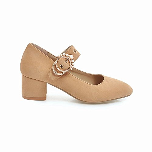 Mee Shoes Women's Dolly Block Heel Court Shoes Apricot LYUUp