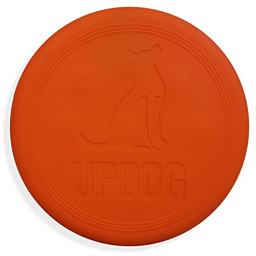 Dog Frisbee | UpDog Products Ultra Tough Chew Resistant Flying Disc for Dogs | Made in USA (Orange)