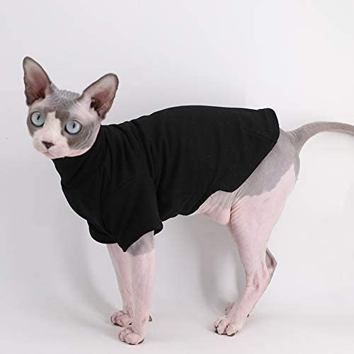 Sphynx Cat Clothes Winter Thick Cotton T-Shirts Double-Layer Pet Clothes, Pullover Kitten Shirts with Sleeves, Hairless Cat Pajamas Apparel for Cats & Small Dogs 16