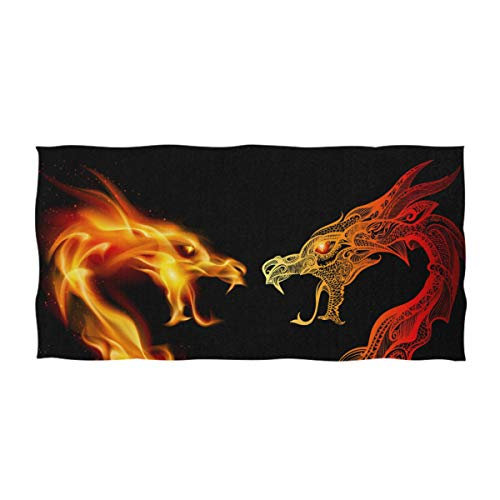 Dragon Design Beach Towel - Naanle Chic Cool Two Fighting Roaring Dragon Soft Large Decorative Hand Towels Multipurpose for Bathroom, Hote, Gym and Spa (16