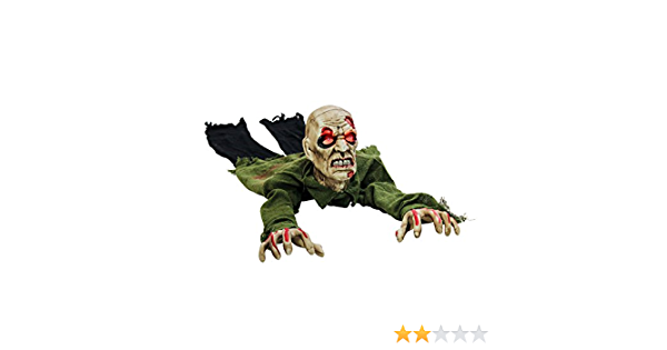 Speaks Scary Phrases /& Howls Sways Halloween Haunters Animated Moving Pumpkin Zombie Groundbreaker Graveyard Prop Decoration with Orange Flashing LED Eyes Haunted House Cemetery Tombstone Display