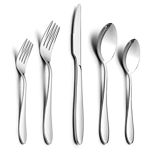 40-Piece Silverware Set, HaWare Stainless Steel Modern Elegant Flatware Cutlery Set, Service for 8, Dinner Knives/Spoons/Forks, Mirror Polished, Dishwasher Safe