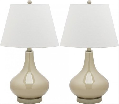 (Safavieh LIT4087L-SET2 Amy Gourd Glass Table Lamp, Taupe - Set Of 2)
