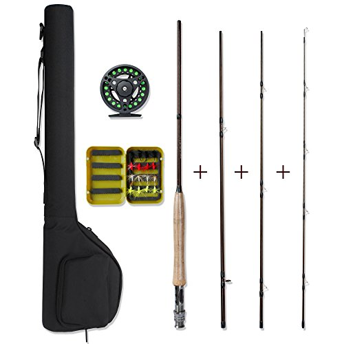 Fly Fishing Combo,Lightweight Portable Rod and Reel Kit,Graphite Pole With Carbon Fiber Blanks and Chromed Stainless Steel Snake Guides 4-Piece,with Carry Bag(5-6#)