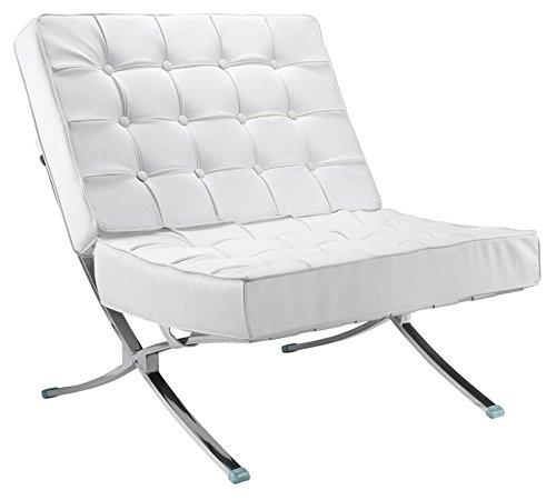 - Fine Mod Imports FMI4000P-white Pavilion Chair in Italian Leather, White