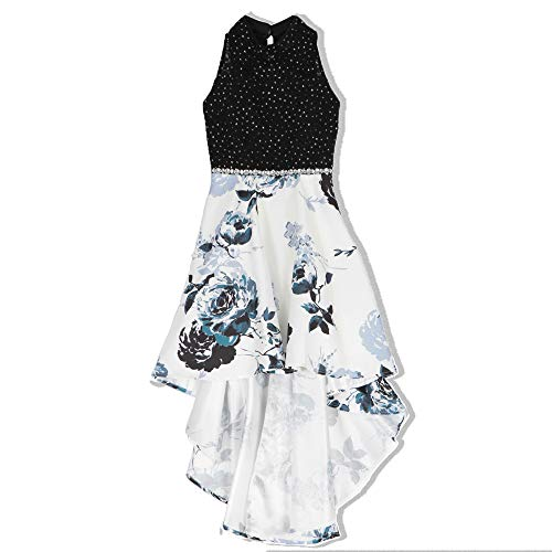 Speechless Girls' Big Party Dress with Dramatic High-Low Hemline, White/Black, 14 -