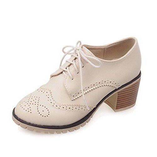 AgooLar Damen Schnüren PU Rund Schließen Zehe Mittler Absatz Rein Pumps Schuhe Cremefarben