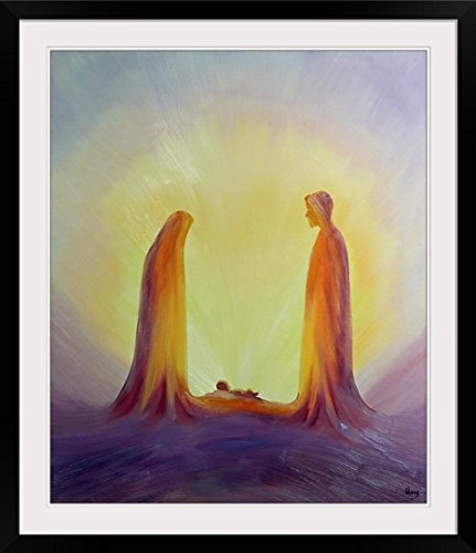 GreatBIGCanvas ''Mary and Joseph Look with Faith on The Child Jesus at His Nativity, 1995 (Oil on Panel)'' by Elizabeth Wang Photographic Print with black Frame, 30'' X 36''''