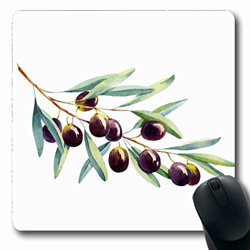 Ahawoso Mousepad for Computer Notebook Health Green Tree Watercolor Olive Branch On White Nature Food Drink Purple Plant Greek Berry Diet Oblong Shape 7.9 x 9.5 Inches Non-Slip Gaming Mouse Pad