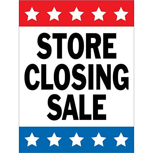 HALF PRICE BANNERS | Store Closing Sale Vinyl Banner | Mesh Wind Resistant | 3'x2' Stars | Free Ball Bungees & Zip Ties | Easy to Hang Advertising Sign | Business Retail | Various Sizes | Made in USA