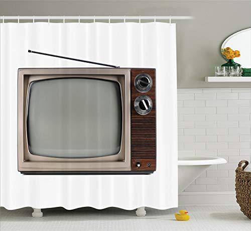 Ambesonne 1950s Decor Collection, Old Television with Antenna Broadcast Display Antique Electronics Tv Picture, Polyester Fabric Bathroom Shower Curtain, 75 Inches Long, Brown Beige ()