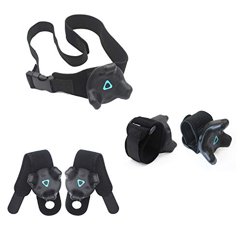 AMVR VR Tracker Straps,Adjustable Waist Belt and Wrist Hand & Palm Straps Full Body Tracking VR Bundle for HTC Vive System Trackers Motion Capture (1 Tracker Belt + 2 Wristband + 2 Palm Straps ) (Antibacterial 1)