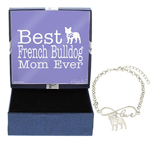 Mother's Day Gifts Best French Bulldog Mom Ever Love Infinity Charm French Bulldog Bracelet Gift Silhouette Charm Bracelet Silver-Tone Bracelet Gift for French Bulldog Owner Jewelry Box (Charm Bracelet Silhouette)