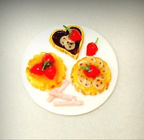 Fruit Tart Dessert - Dollhouse Handcraft Dessert Platter Fancy Fruit Tarts 1:12 Doll House Miniatures - My Mini Garden Dollhouse Accessories for Outdoor or House Decor