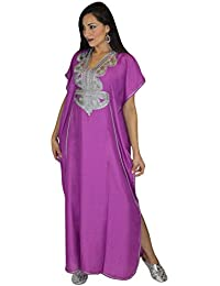 Moroccan Women Caftan Handmade Cotton Embroidery Fits SMALL to LARGE