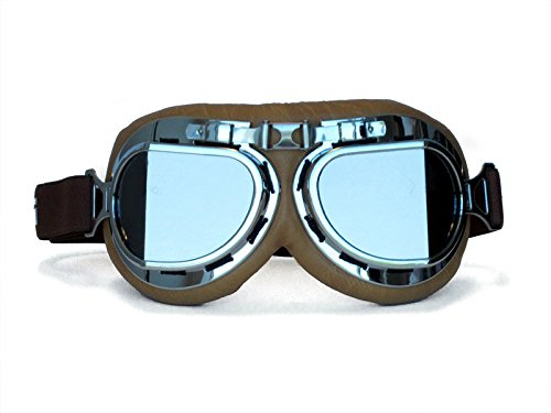 CRG Sports Vintage Aviator Pilot Style Motorcycle Cruiser Scooter Goggle T08 T08STN Smoke lens, silver frame, brown padding