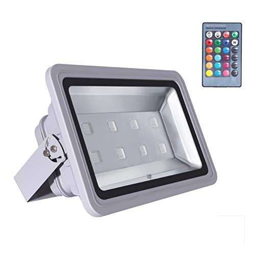 - WEDO 400W RGB LED Flood Light IP66 Waterproof Gray Shell 16 Colors Change 4 Modes with Remote Control Wall Wash Light Security Light for Outdoor Garden Landscape Yard Car Park (Plug is not Included)
