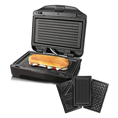 chollos oferta descuentos barato Taurus Miami Premium Sandwichera Intercambiable 900 W 0 Decibeles Plastique Negro