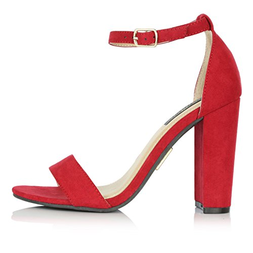 DailyShoes Womens Womens Chunky Heel Sandal Open Toe Wedding Pumps With Buckle Ankle Strap Party Evening Shoes Upgraded Red Suede S7IUg