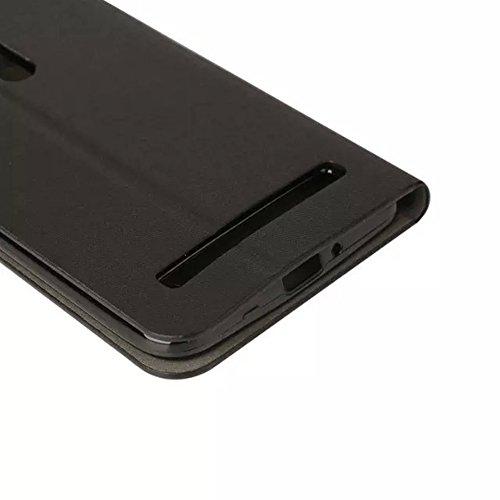Asus ZenFone 2 Laser ZE601KL 6.0 inch Funda, TOTOOSE para Asus ZenFone 2 Laser ZE601KL 6.0 inch PU Cuero Caso con Flip Stand Función y Ranuras para tarjetas Silicona TPU Suave Cubrir Stylus Included N Negro