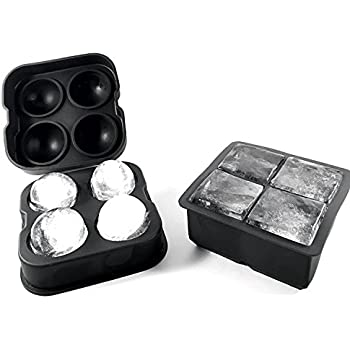 silicone ice cube tray and ice ball set 2 piece set make perfect 6 large cubes and. Black Bedroom Furniture Sets. Home Design Ideas