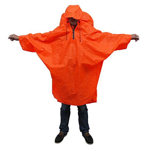 Bluefield Waterproof Backpack cover one-piece poncho raincoat, One Size, Orange-Red by BlueField