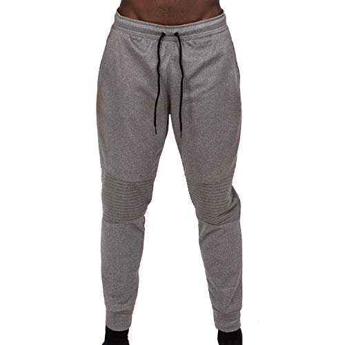 (Layer 8 Men's Performance Fleece Motto Athletic Jogger Pant (Small, Dark Charcoal Heather))