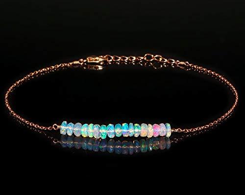 (Beaded Bracelet Gemstone Opal Dainty Jewelry Gift For Her Mom, 14K Rose Gold Fill Chain, Anniversary Gift For Girlfriend, Birthday Gift, Boho, October Birthstone Bar Bracelet )