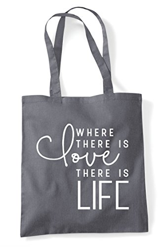Dark Shopper Love Is Where There Life Statement Grey Bag Tote 87qpxwqS