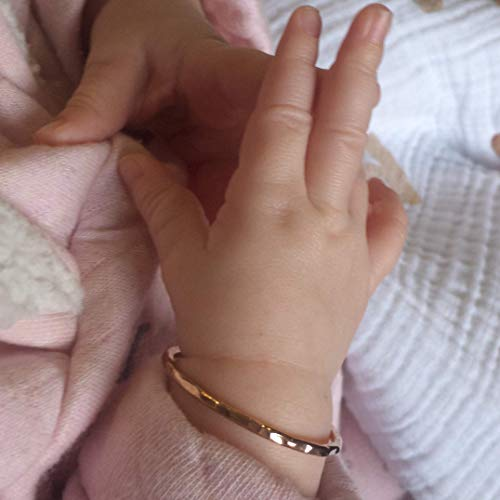 Gift For Newborn Baby Girl -14k Yellow Gold-Filled (NOT PLATED SO WON'T FADE) Hammered Bangle Bracelet ONLY for NEWBORNS to 3 Months (Baby Gold Bracelet)