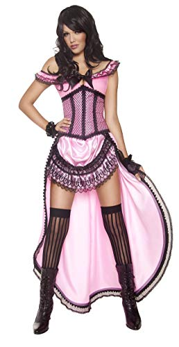 Smiffy's Women's Western Authentic Brothel Babe Costume with Dress and Corset, Black/Pink, -