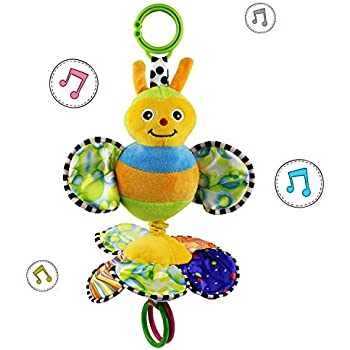 JAMSWALL Baby Stroller Hanging Toy, Cartoon Butterfly Flower Play Music Crib Toy, Fun Musical Rattle Toy, Plush Animal Pull Bell Sensory Toy, for Infant Toddler Boys Girls Children