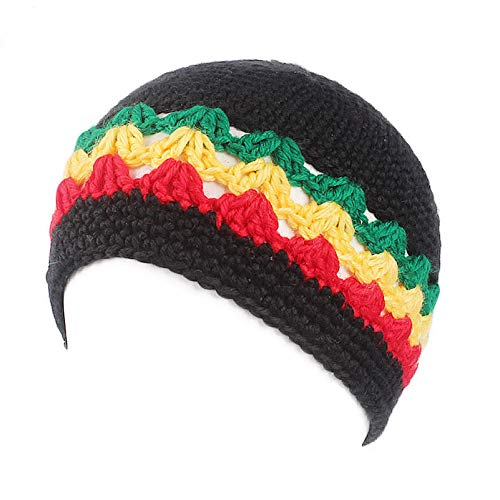 25e398a6b15 Amazon.com  Wall of Dragon Fashion Male Knitted Crochet Jamaican Rasta Hat  Dreadlocks Winter Warm Wool Beanies Hats for Women Men Bob Marley Cap   Sports   ...