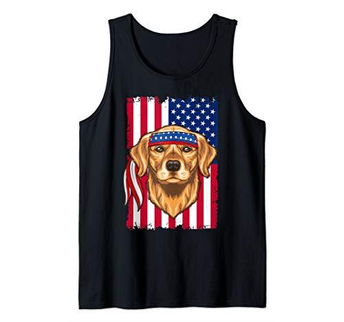 4th of July Shirt Fun American Flag USA Golden retriever Tank Top