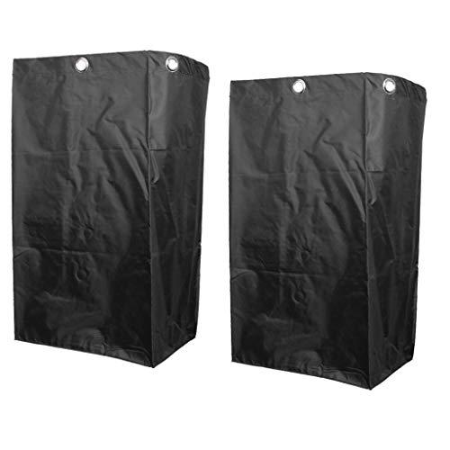 B Blesiya 2 stks Cleaning Cart Bag Waterdichte Oxford Vervanging Tassen voor Hotel Waswagen met Metalen Grommets Zwart