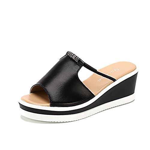 Verano pendientes de cuero y zapatillas/Exterior con zapatillas de fondo gruesas B