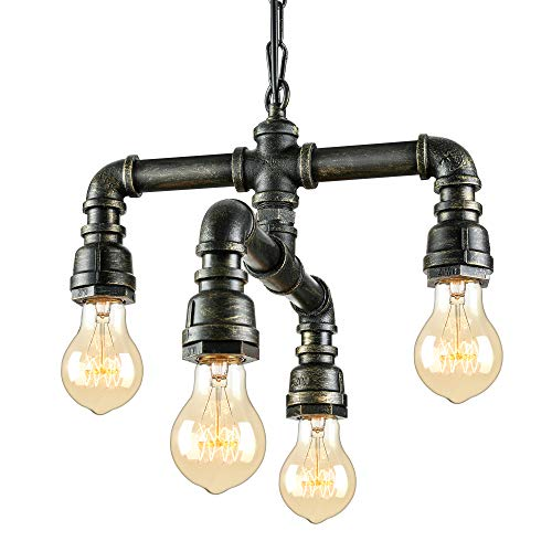 NIUYAO Antique Industrial Wrought Iron Pendant Chandelier