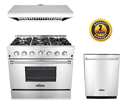 Thor Kitchen 3-Piece Kitchen Package with HRG3618U 36″ Pro Style 6 Burner Stainless Steel Gas Range, HRH3606U 36″ Under Cabinet Range Hood Stainless Steel and HDW2401SS 24″ Dishwasher Stainless Steel