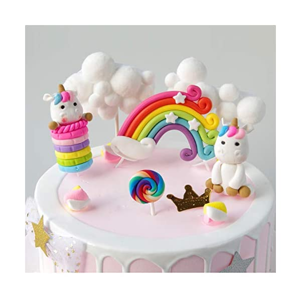 Cloud Rainbow And Unicorn Cake Toppers Kit (Set of 6)Kids Girls Birthday Cake Decoration Baby Shower Party Cake Decorations 4
