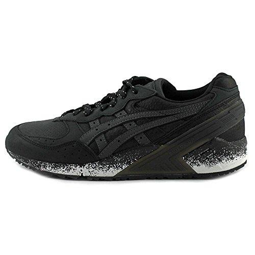Sneaker Asics In Pelle Con Punta Rotonda In Gel Nero / Nero