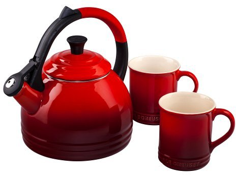 Cheap Le Creuset Enamel on Steel Kettle and Mug Gift Set, Cerise (Cherry Red)