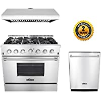 Thor Kitchen 3-Piece Kitchen Package with HRG3618U 36 Pro Style 6 Burner Stainless Steel Gas Range, HRH3606U 36 Under Cabinet Range Hood Stainless Steel and HDW2401SS 24 Dishwasher Stainless Steel