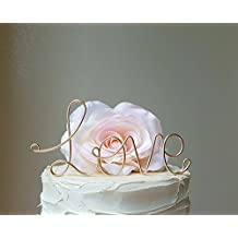 LOVE Wedding Cake Topper in CHAMPAGNE GOLD Wire Finish by AntoArts, Wedding Cake Decoration