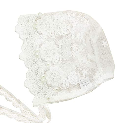 Nihao Baby Baptism Bonnet (A-White Lace Bonnet with Imitation Pearls, 0-3 Months) ()