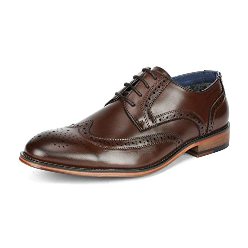 (Bruno Marc Men's Louis_1 Dark Brown Classic Brogue Wing Tip Lace Up Soft Round Toe Oxfords Formal Dress Shoes Size 8.5 M US)
