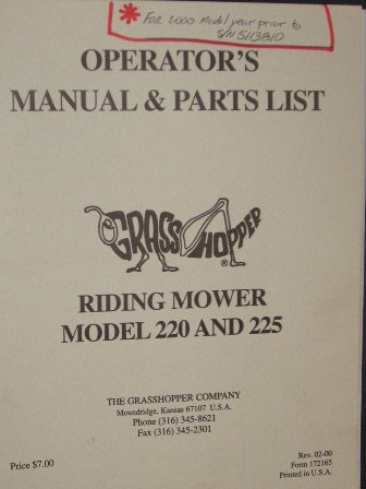 Grasshopper Riding Mower Model 220 and 225 Operation Manual